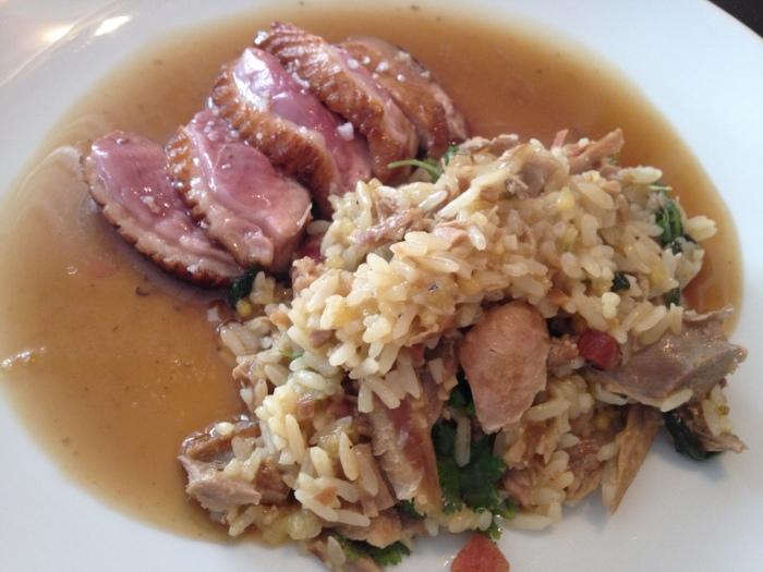 peito de pato com arroz de pato