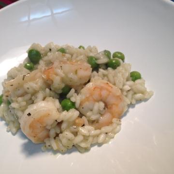 risoto de camarão e ervilha
