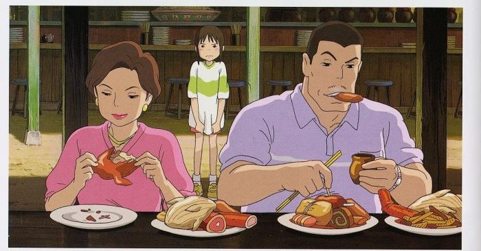 Os pais de Chihiro, capturados por um misterioso e farto banquete