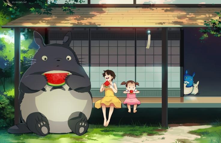 Totoro, as meninas e a melancia fresquinha